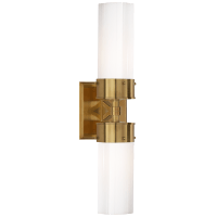 Marais Large Double Bath Sconce in Hand-Rubbed Antique Brass with White Glass