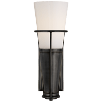 Robinson Single Sconce in Bronze with White Glass