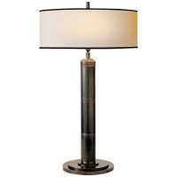 Longacre Tall Table Lamp in Bronze with Natural Paper Shade and Black Trim