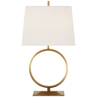 Simone Medium Table Lamp in Hand-Rubbed Antique Brass with Linen Shade