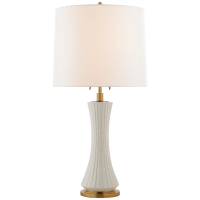 Elena Large Table Lamp in White Crackle with Linen Shade