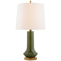 Luisa Large Table Lamp in Emerald Green with Linen Shade