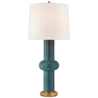 Bibi Large Table Lamp in Oslo Blue with Linen shade