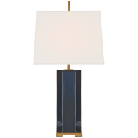 Niki Medium Table Lamp in Mixed Blue Brown with Linen Shade