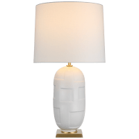 Incasso Large Table Lamp in Plaster White with Linen Shade