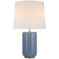 Minx Large Table Lamp in Polar Blue Crackle with Linen Shade