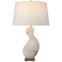 Bree Large Table Lamp in Alabaster with Linen Shade