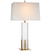 Gironde Large Table Lamp in Crystal and Hand-Rubbed Antique Brass with Linen Shade