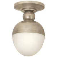 Clark Flush Mount in Antique Nickel with White Glass