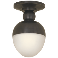 Clark Flush Mount in Bronze with White Glass