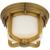 Milton Short Flush Mount in Hand-Rubbed Antique Brass with White Glass