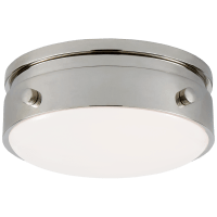 """Hicks 5.5"""" Solitaire Flush Mount in Polished Nickel with White Glass"""