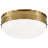 Hicks Small Flush Mount in Hand-Rubbed Antique Brass with White Glass