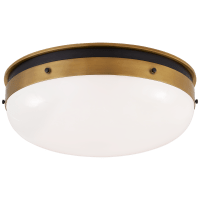 Hicks Medium Flush Mount in Bronze and Hand-Rubbed Antique Brass with White Glass