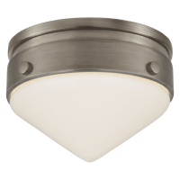 """Gale 5.5"""" Solitaire Flush Mount in Antique Nickel with White Glass"""