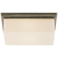 Newhouse Block Wall/Ceiling Light in Antique Nickel with White Glass