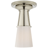 Robinson Small Flush in Polished Nickel with White Glass