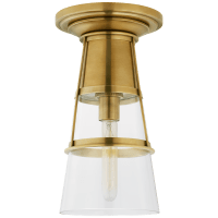 Robinson Medium Flush in Hand-Rubbed Antique Brass with Clear Glass