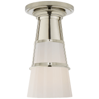Robinson Medium Flush in Polished Nickel with White Glass