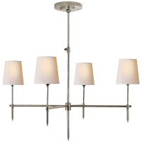 Bryant Large Chandelier in Antique Nickel with Natural Paper Shades