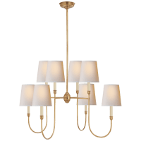 Vendome Large Chandelier in Hand-Rubbed Antique Brass with Natural Paper Shades