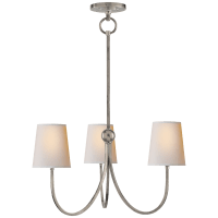 Reed Small Chandelier in Antique Nickel with Natural Paper Shades
