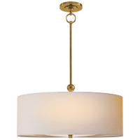 Reed Hanging Shade in Hand-Rubbed Antique Brass with Natural Paper Shade