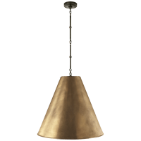 Goodman Large Hanging Lamp in Bronze with Hand-Rubbed Antique Brass Shade