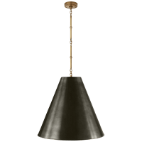 Goodman Large Hanging Lamp in Hand-Rubbed Antique Brass with Bronze Shade