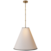 Goodman Large Hanging Lamp in Hand-Rubbed Antique Brass with Natural Paper Shade with Black Tape