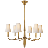 Farlane Small Chandelier in Hand-Rubbed Antique Brass with Natural Paper Shades