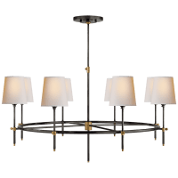 Bryant Large Ring Chandelier in Bronze and Hand-Rubbed Antique Brass with Natural Paper Shades