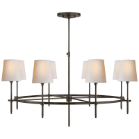 Bryant Large Ring Chandelier in Bronze with Natural Paper Shades