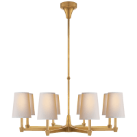 Caron Large Chandelier in Hand-Rubbed Antique Brass with Natural Paper Shades