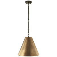 Goodman Small Hanging Light in Bronze with Hand-Rubbed Antique Brass Shade