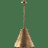Goodman Medium Hanging Light in Hand-Rubbed Antique Brass with Hand-Rubbed Antique Brass Shade