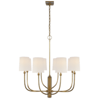 Hulton Large Chandelier in Hand-Rubbed Antique Brass with Linen Shades