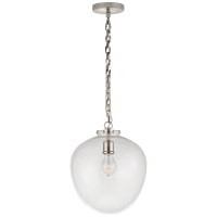 Katie Acorn Pendant in Polished Nickel with Clear Glass