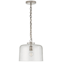 Katie Dome Pendant in Polished Nickel with Seeded Glass