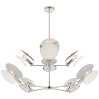 Osiris Large Reflector Chandelier in Polished Nickel with Linen Diffuser