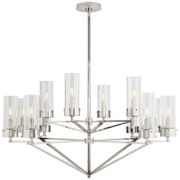 Marais Large Chandelier in Polished Nickel with Clear Glass