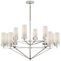 Marais Large Chandelier in Polished Nickel with White Glass
