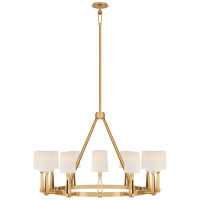 Alpha Grande Chandelier in Hand-Rubbed Antique Brass with Linen Shades