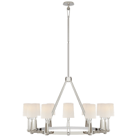 Alpha Grande Chandelier in Polished Nickel with Linen Shades