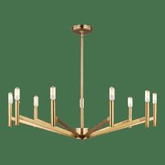 Vector Nine Light Chandelier Satin Brass