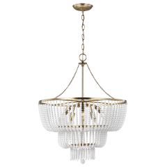 Jackie Six Light Chandelier Satin Brass Bulbs Inc