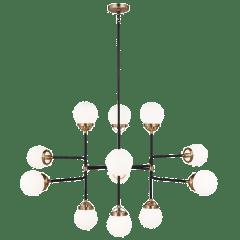 Cafe Twelve Light Large Chandelier Satin Brass Bulbs Inc