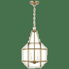 Morrison Small Three Light Lantern Satin Brass Clear
