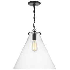 Kate One Light Cone Pendant Midnight Black Bulbs Inc