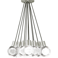 Mina Pendant 11-LITE Chandelier Clear satin nickel 3000K-2200K 90 CRI LED 120v (t24)